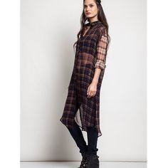 """Plaid Back Look"" Long Sleeve Tunic Plaid partially sheer button up tunic. Available in brown or red. This listing is for the BROWN. Brand new. Runs large. NO TRADES. PRICE FIRM. Bare Anthology Tops Button Down Shirts"