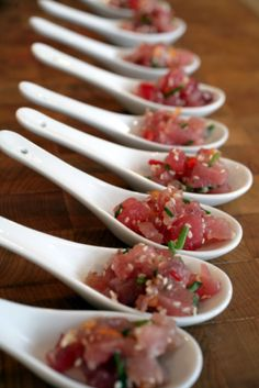 way of doing tuna tartare - not these spoons but nice spoons, antiquey, all in a circle or something. with a little soy saucey thing in a little container to pour onto them. just an idea. not even necessarily the tuna but i just like the idea!