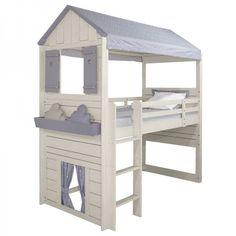 lit-cabane-garçon-blanc-tissu-gris-étoilé-évolutif-en-hauteur