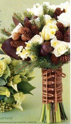 Bouquet de noiva invernal, com pinhas