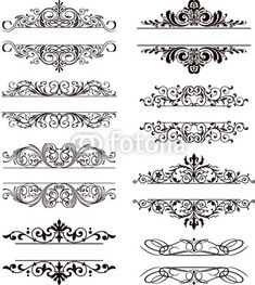 flourish vector labels - Buy this stock vector and explore similar vectors at Adobe Stock Page Borders Design, Border Design, Pattern Design, Stencil Patterns, Stencil Designs, Molduras Vintage, Estilo Tribal, Cnc Cutting Design, Motif Art Deco