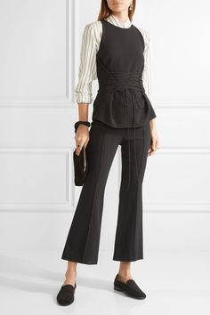 The Row - Beca Stretch-crepe Flared Pants - Black - US6