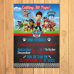 Paw Patrol Invitation Chalkboard  Paw Patrol by SometimesPie