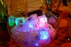 Blacklight Neon Birthday Party LED Ice Cubes decoration drinks