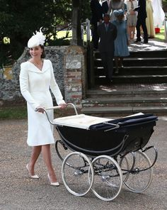 Kate pushed fourth-in-line-to-the-throne Charlotte in an original 1950s Millson pram used by the Queen for her sons, Princes Andrew and Edward.