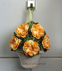 Puxa-Saco de Crochê para Ganhar Dinheiro Crochet Cactus, Filet Crochet, Crochet Flowers, Crochet Kitchen, Crochet Home, Diy Crochet, Plastic Bag Crochet, Knitting Patterns, Handmade Crafts