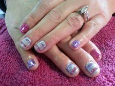 Pink & lavender glitter stripes Shellac nail art
