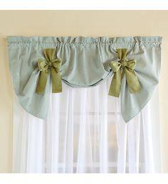 Cotton Duck Striped Bow Tie Window Valance - Plow & Hearth