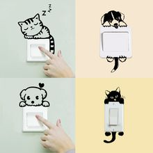 DIY Funny Cute Cat Dog Switch Panel Stickers Waterproof Wall Stickers Home Decoration Kids&Baby room Bedroom Parlor Decoration(China (Mainland))