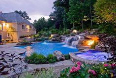 Garten Mit Pool, Landschaften, Wasserfall Design, Pool Wasserfall, Hinterhof  Designs, Traum Pools, Orte, Hof Ideen, Naturschwimmbäder