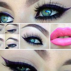 Deep purple eyeliner for green eyes. Beauty Make Up, My Beauty, Beauty Hacks, Hair Beauty, Beauty Tips, Matte Gel, Gel Liner, Makeup Obsession, Brow Gel