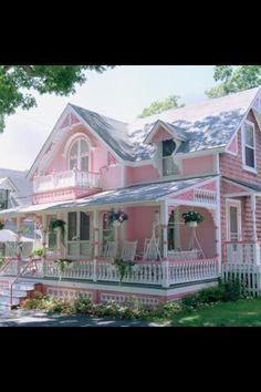 Lovely shabby chic house = Cute but too pink  ~ I disagree....there is no such thing as TOO MUCH PINK    ;o))