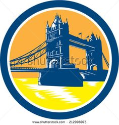 Illustration of the Tower Bridge, a combined bascule and suspension bridge thast crosses the river Thames in London, England set inside circle done in retro woodcut style. - stock vector #towerbridge #woodcut #illustration