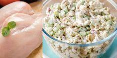 Ingredience 300 g uvařených kuřecích prsou4 okurky3 vejcePetrželka nebo kopr dle vašeho výberz250 g šunky3 rajčata50 g sýraMajonéza (jogurt) Domácí majónéza: 2 větší žloutky½ čl soli2 pl studené vody1 čl hořčice2 pl citrónové šťávy350 ml olivového oleje Postup přípravy Maso Fast Easy Meals, Pasta Salad, Potato Salad, Potatoes, Ethnic Recipes, Food, Appetizers, Diet, Crab Pasta Salad