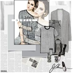 How To Wear Simple Grey Day.. Outfit Idea 2017 - Fashion Trends Ready To Wear For Plus Size, Curvy Women Over 20, 30, 40, 50