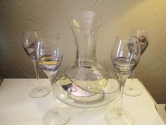 Vintage Mouth blown Romanian Milano Crystal Wine Decanter set with 4 long stem glasses! by DandAAmbientAntiques on Etsy
