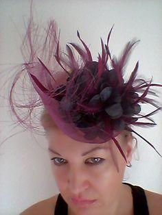 Wedding  Fascinator Hat  with Huge Black  Flower for Wedding,Cocktails,Kentucky Derby
