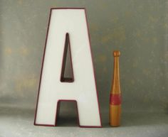 Large Vintage Channel Letter Red Letter A Sign Letter by PassedBy