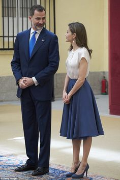 Letizia perfectly coordinated her heels to her full, knee-length skirt, which she wore wit...
