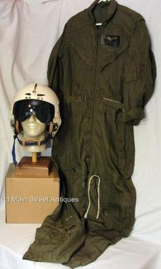 Vintage Vietnam U.S. Navy APH-6 Single Visor Flight Helmet & Jumpsuit
