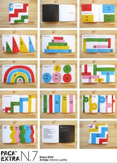 Inside spreads from AntonioLadrillo's book, Oh! Un zig-zag!