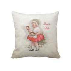 Born To Bake Girl Throw Pillows. $63.95