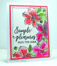 Meet today's card. It's time for another challenge at theCAS Watercolour Challenge.This month our theme will be Green and Pink.  Like I had mentioned on yesterday's card, I just picked up this great
