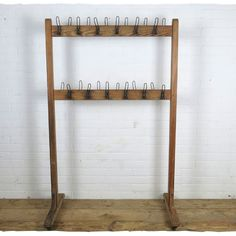 Rustic Old School Vintage Wooden Coat Rack For Hire With Metal Hooks Decorative Display Hanging Coats