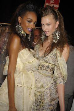 #KarlieKloss & #JourdanDunn backstage at #ZacPosen #RTW #SS2009