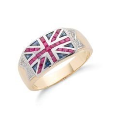 9ct Yellow Gold Union Jack Ring With Saphires & Rubies