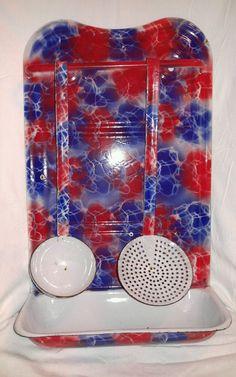 Vintage Graniteware/Enamelware RARE Red and Blue Utensil Holder