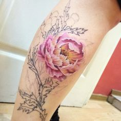 Peony tattoo in progress