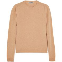 Jil Sander Cashmere sweater ($750) ❤ liked on Polyvore featuring tops, sweaters, brown, brown crew neck sweater, loose tops, layered tops, layered sweater and cashmere crewneck sweater