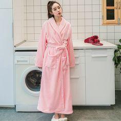 63a0f273eb XI YUAER 2017 Women Silk Flannel Long Kimono Bathrobe Winter Warm Bath Robe  Femme Dressing Gown
