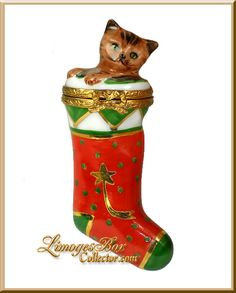 Christmas Stocking with Kitty Cat Limoges