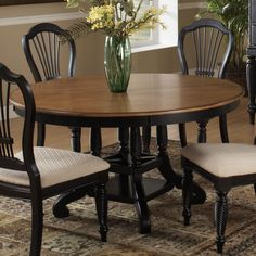Hillsdale Furniture Wilshire Round Dining Table in Rubbed Black Black Round Dining Table, Pedestal Dining Table, Dining Table In Kitchen, Extendable Dining Table, Dining Table Chairs, Dining Furniture, Oval Table, Side Chairs, Furniture Decor