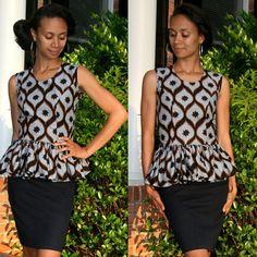 Melange Mode African Print Peplum Top by MelangeMode on Etsy, $80.00