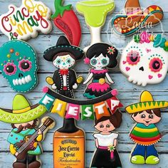 We have the main cutters in this set - guitar man, poncho boy, liquor bottle and pepper - listed in the shop now! Cookies by Cute Cookies, Cupcake Cookies, Sugar Cookies, Cupcakes, Birthday Cookies, Owl Cookies, Iced Cookies, Mexican Cookies, Mexican Party