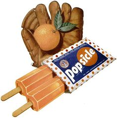 The sweet, classic summertime tradition that is a double stick Popsicle. Yum! :) #food #1950s #ad #Popsicle #orange #nostalgia