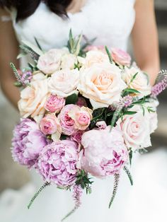 Classic lilac peony and peach rose pastel wedding bouquet | We Are Origami