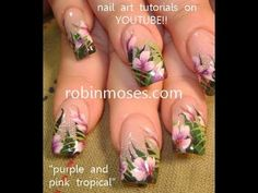 Tropical Jungle Flower floral design with 3d eyeshadow: robin moses nail art tutorial