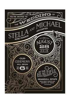"Brides: Art-Deco Inspired Gold Foil Invitation. ""Antique Lines"" gold foil-pressed wedding invitation, $260 for 100 invitations, Minted"