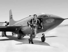 Chuck Yeager with the Bell X-1 just after breaking the sound barrier like a boss.