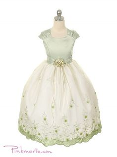 7359e58f78e Sage Satin Bodice with Embroidered Flower Girl Dress