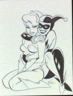 bruce timm - harley quinn and poison ivy Bruce Timm, Arte Dc Comics, Bd Comics, Comics Girls, Cartoon Kunst, Comic Kunst, Cartoon Art, Ivy Draw, Drawing Sketches