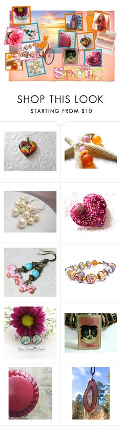 Snapshots from Paradise by funnfiber on Polyvore featuring handmade jewelry!  #handmade #jewelry #easter #spring #etsy #earrings #necklace #ring #orange #pink #bracelet
