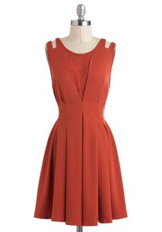 Awe in Auburn Dress, #ModCloth $54.99. In stock in all sizes. 3 stars. Looks very vintage. But auburn/burnt orange rather than the pinkish colors were looking at more.