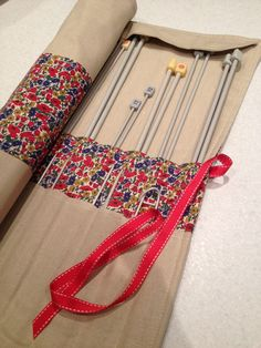 Knitting Patterns Needles Afternoon tea and a knitting needle case. Diy Knitting Needle Case, Diy Knitting Needles, Knitting Blogs, Knitting Patterns, Sewing Patterns, Yarn Storage, Yarn Thread, Knitted Bags, Crochet Yarn