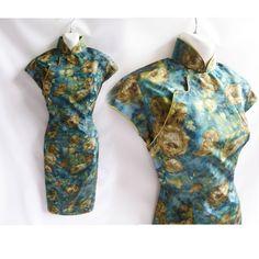 Vintage 50er Jahre Cheongsam Kleid Größe S/Petrol grün von jdbok