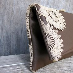 Leather and Lace Clutch Bag in Chocolate Brown with by stacyleigh, $75.00